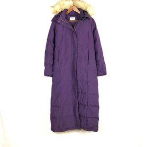 L.L. Bean Women's Goosedown Long Purple Coat Hood